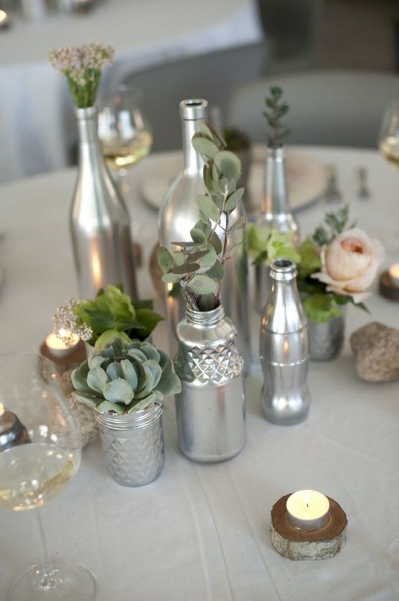 Silver Painted Jars Centerpiece DIY