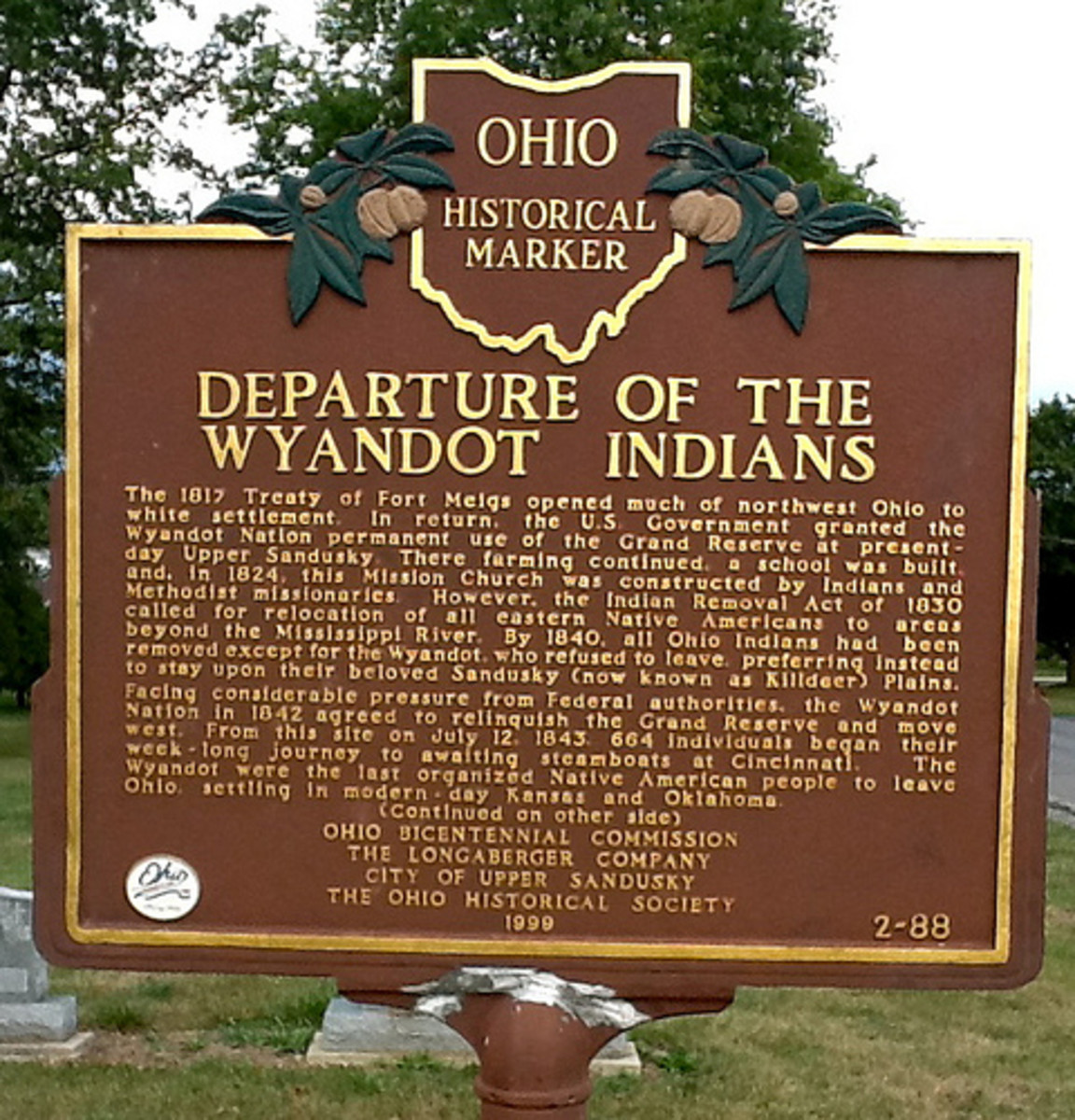 Native Americans: Wyandotte Nation History - Forced Out Or Paid To Leave Ohio?