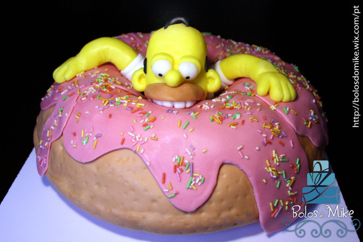 How to make a Simpsons cake. A Homer Simpson eating a donut birthday cake. Celebration cake for children and adults.