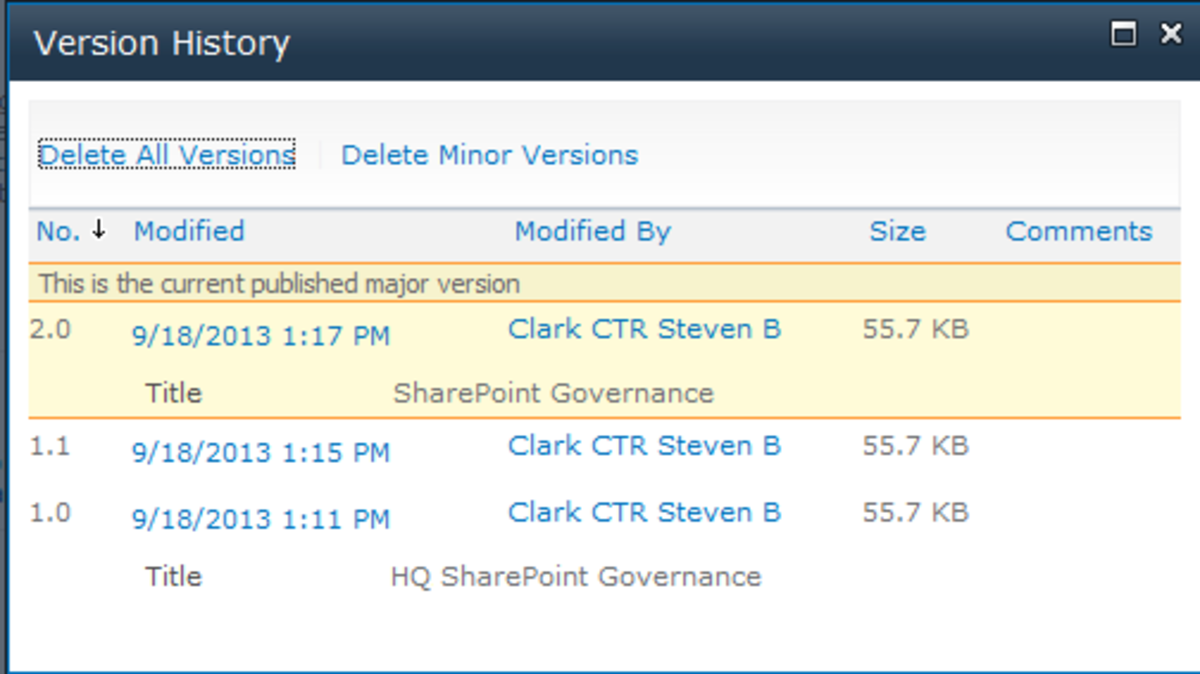 SharePoint Version History Dialog Box shows the changes made over time.