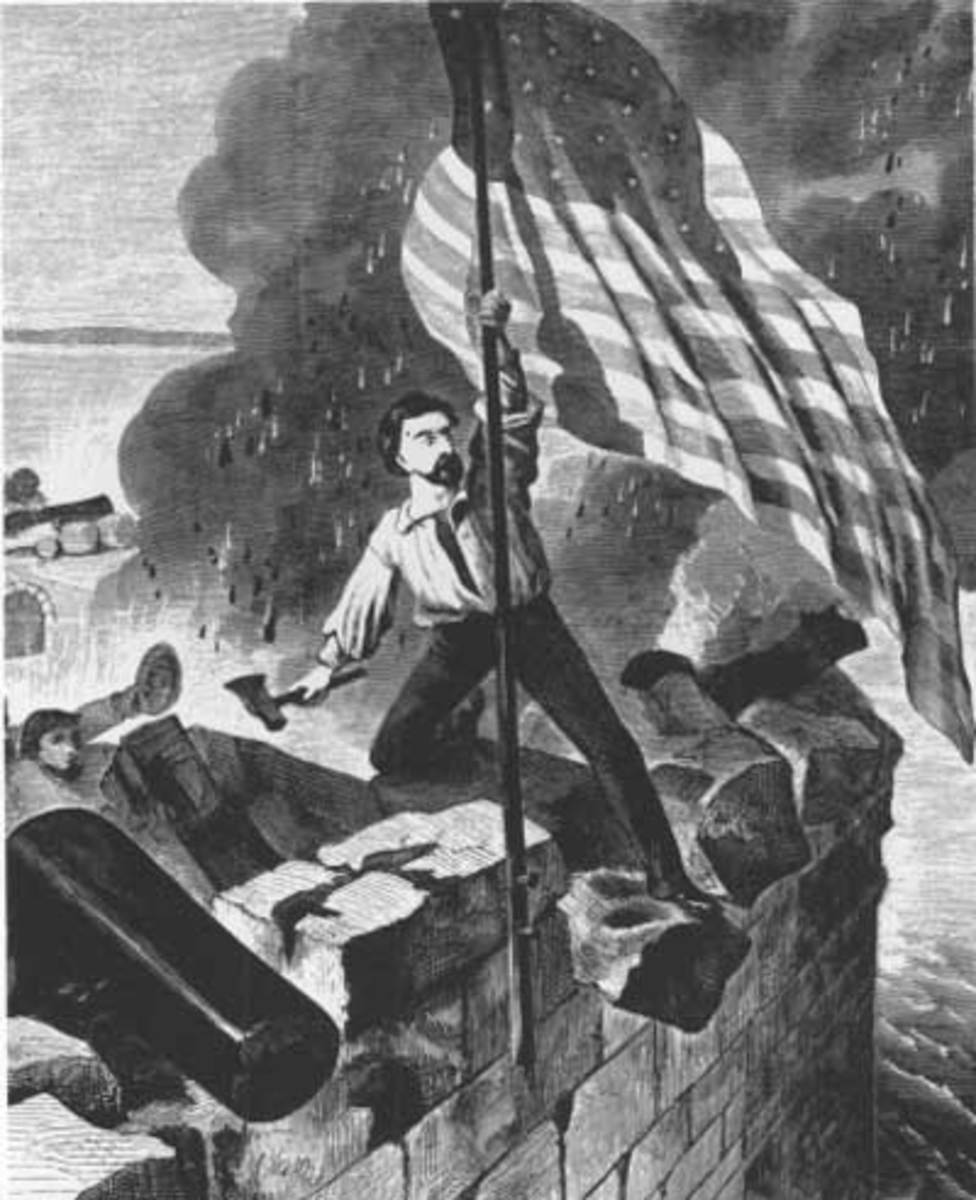 Fort Sumter garrison member replaces the U.S. flag on the damaged flagpole, all the while under fire.