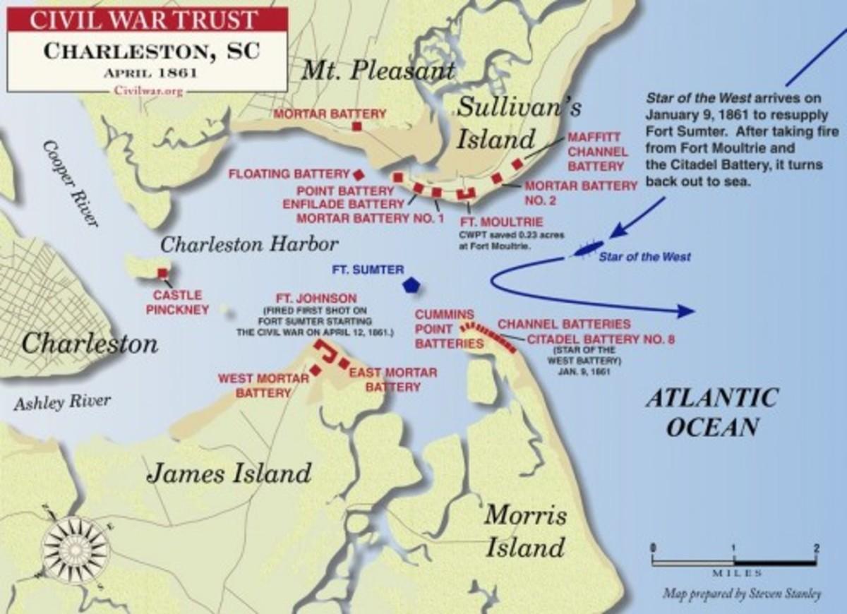 Civil War Trust map of Fort Sumter and Charleston Harbor