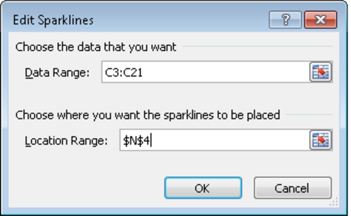 Choosing the data to be displayed in our Sparkline in Excel 2010.