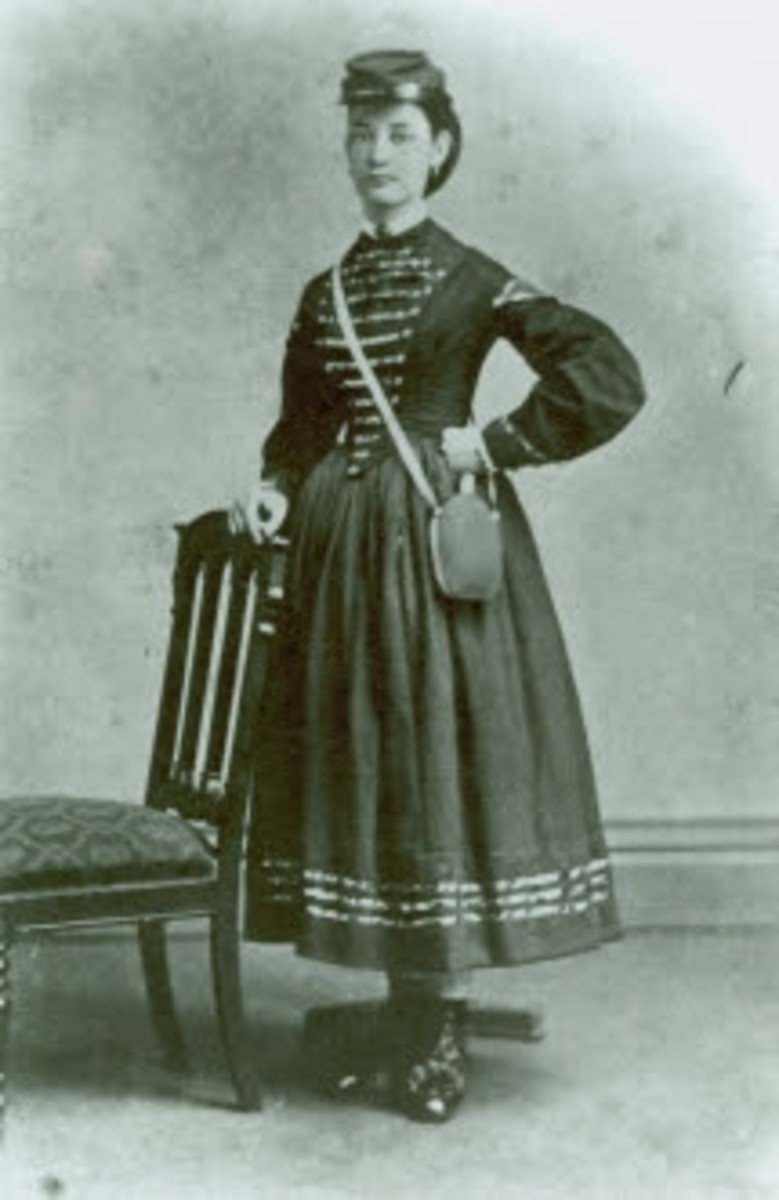A Vivandiere poses for a photograph with one of her most important accessories - the canteen