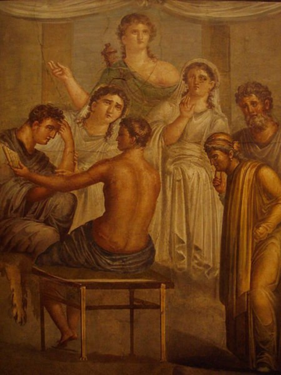 Roman fresco from The House of the Tragic Poet, Pompeii. Alcestis and Admetus receive a message from an oracle that Admetus' life can be saved if someone offers themselves as a substitute. Apollo stands in the background.