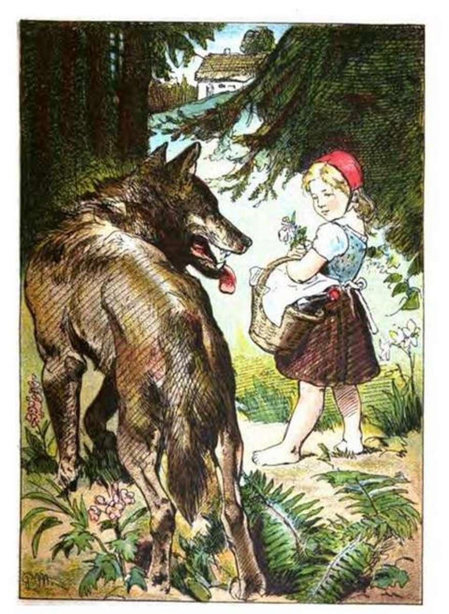Big bad wolf meets Red Cap, painted by Paul Meyerheim