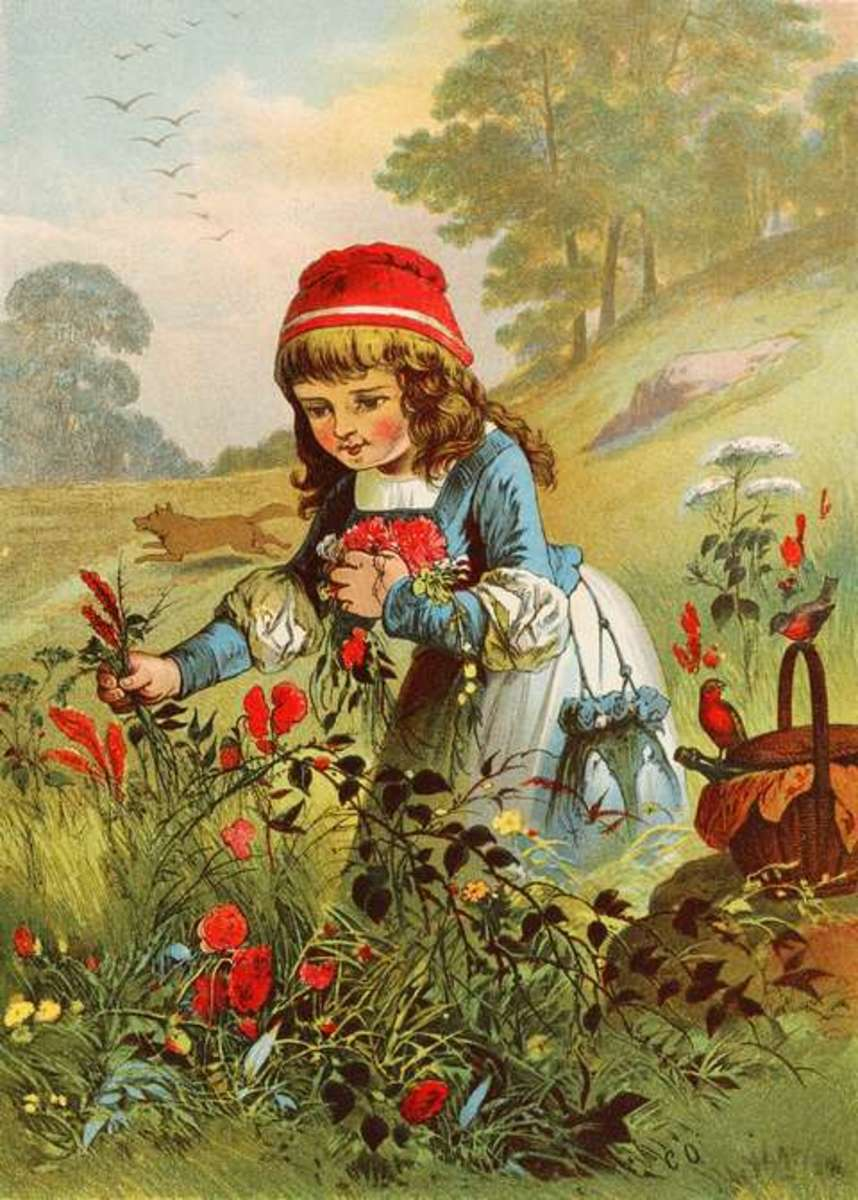 Brothers Grimm highlighted Red riding Hood's irresponsibility, what is obvious in this Offterdinger's painting