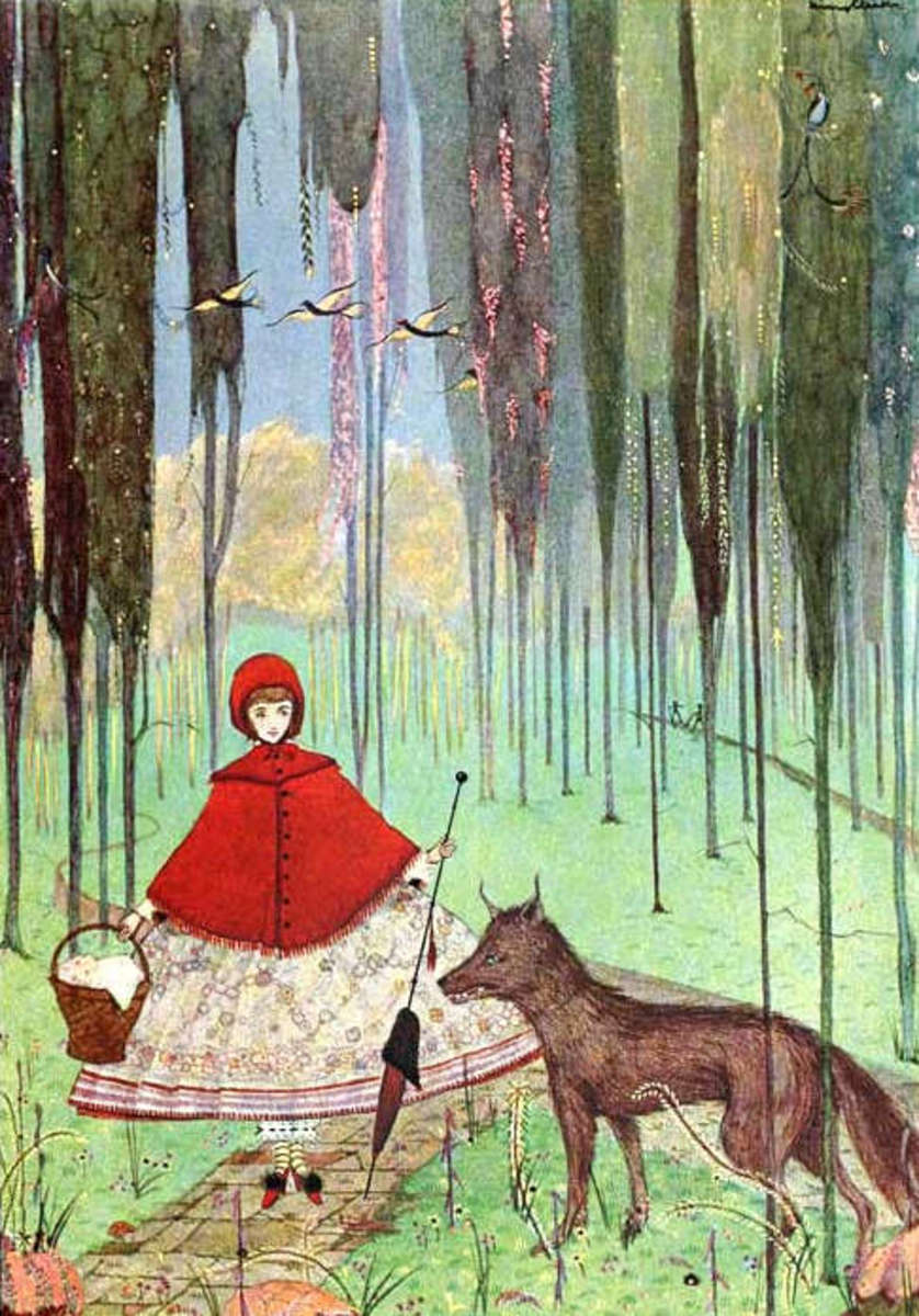 Wolf looks pretty tame in this illustration by Harry clarke