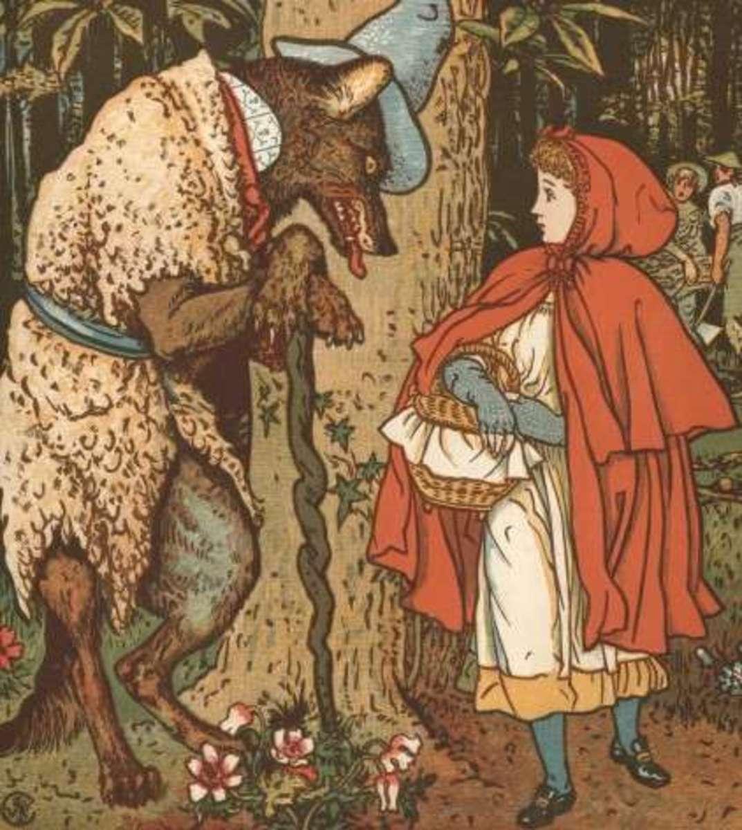 Walter Crane interprets wolf as an older man