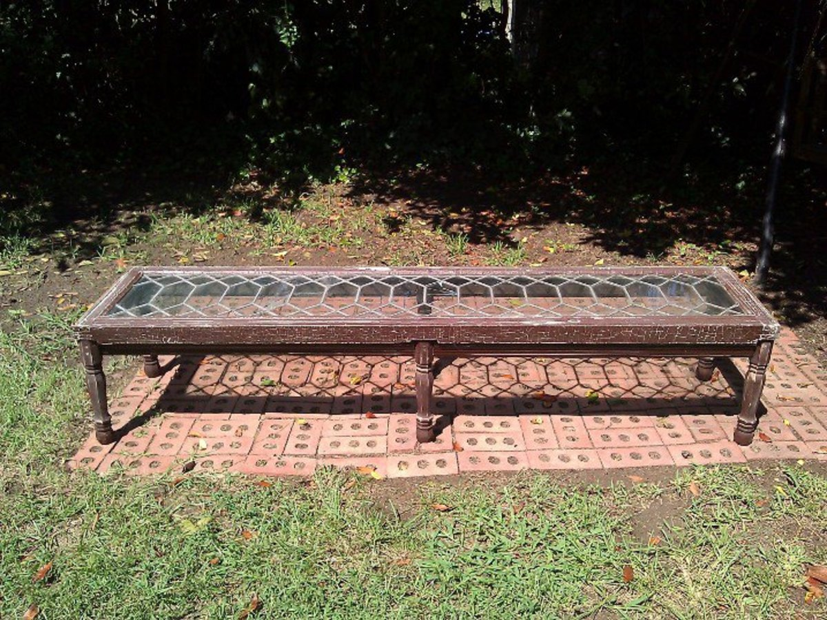This wonderful long coffee table was made from an old leaded glass window.