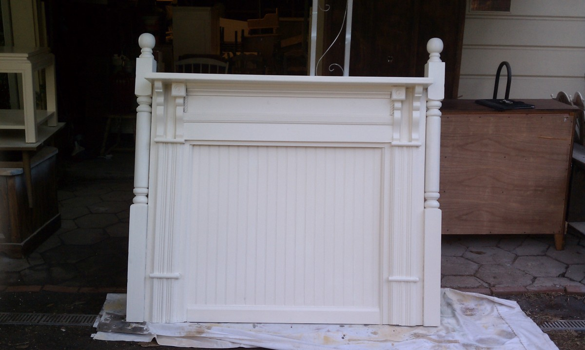 This fabulous headboard was made from an old fireplace mantle!