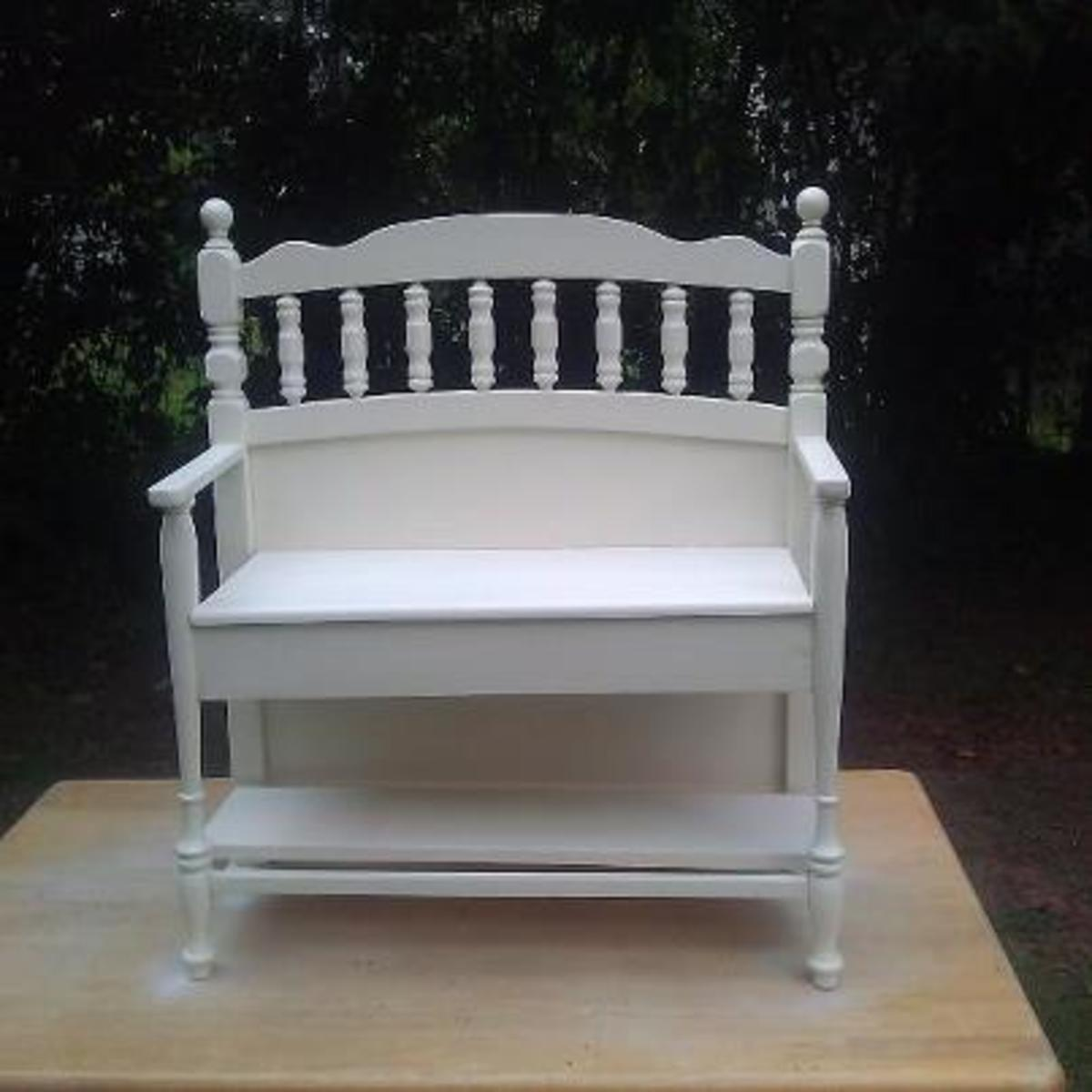This cute little bench was built using the sections of an old crib!