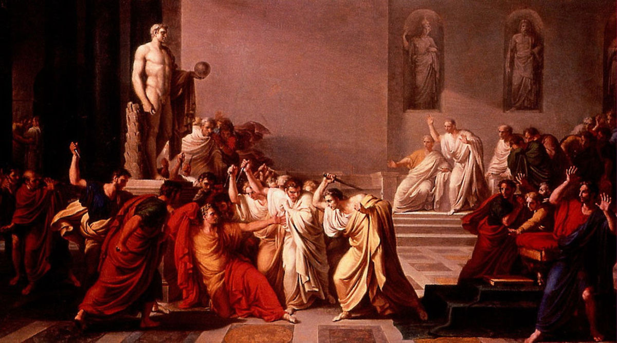 Gaius Julius Caesar dictator of the Roman Republic was Born 100 BC and was assassinated on the 15 March 44 BC by a group of senators led by Marcus Junius Brutus and was stabbed 23 times.
