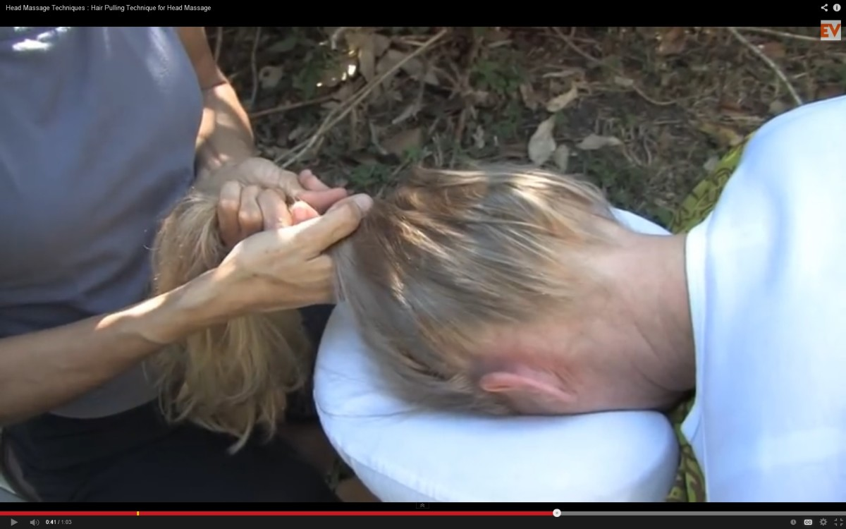 A picture of therapeutic hair pulling.