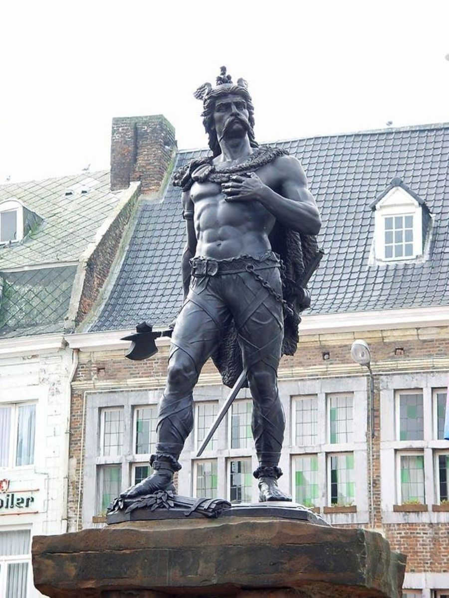 Ambiorix, leader of the Eubones tribe in Belgae.  He lead an unsuccessful revolt against Caesar, standing in Tongeren, Belgiam today.   Given national hero status in the 1500's.