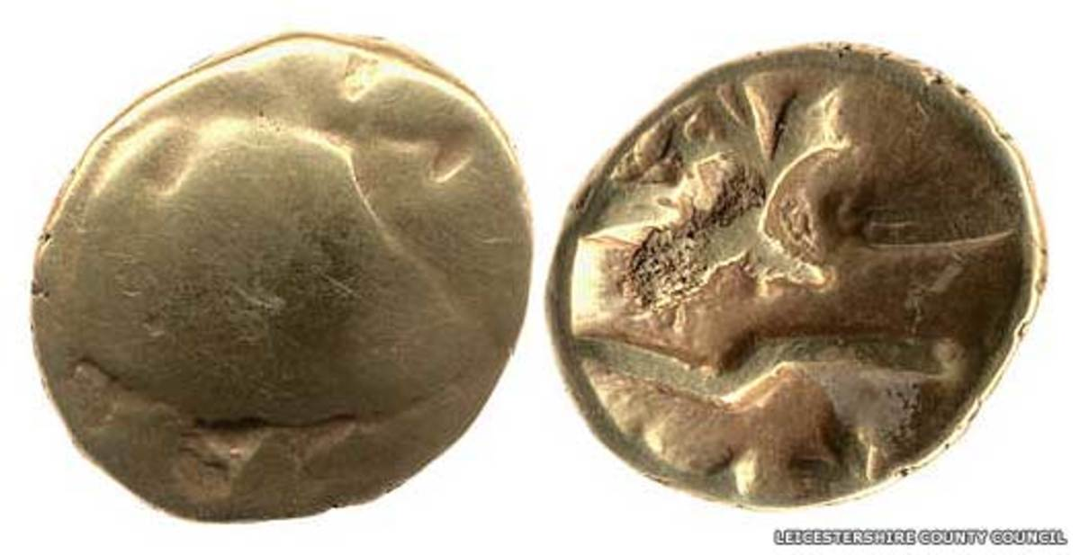 Belgae coins from the Ambiani tribe unearthed in southeastern Britain. Pre-Roman invasion (43 AD) of Britain.
