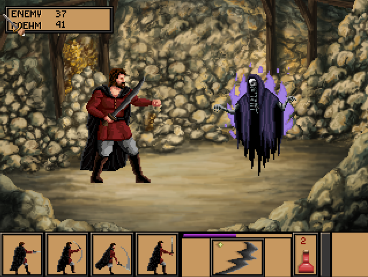 Roehm battling a spectral friend in the Dwarven Mines of Quest for Infamy.