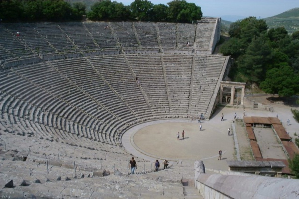 The remains of the theatre of Epidauros, where plays such as Hippolytus were performed before vast audiences.