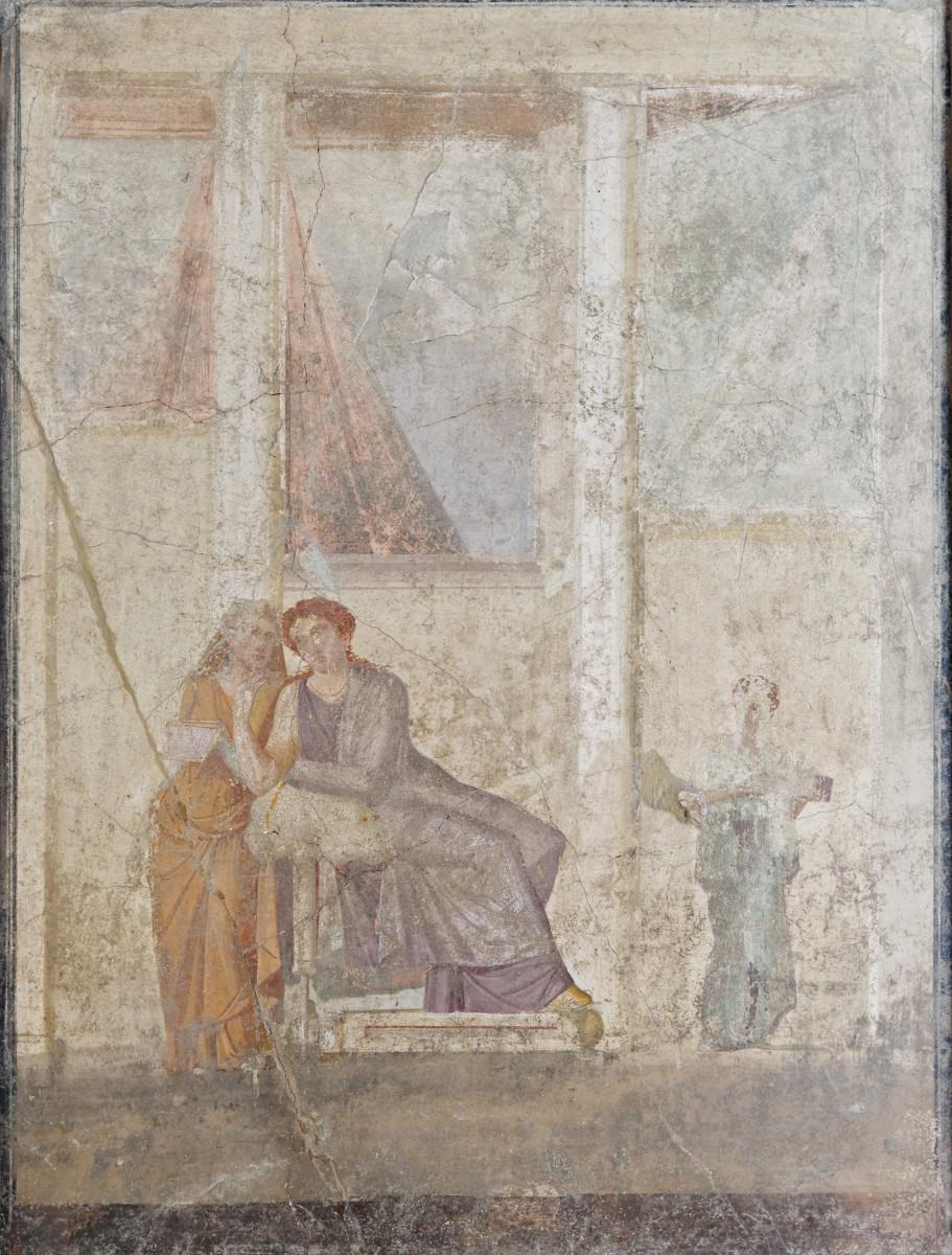 Phaedra hands over the letter accusing Hippolytus. Pompeian fresco.