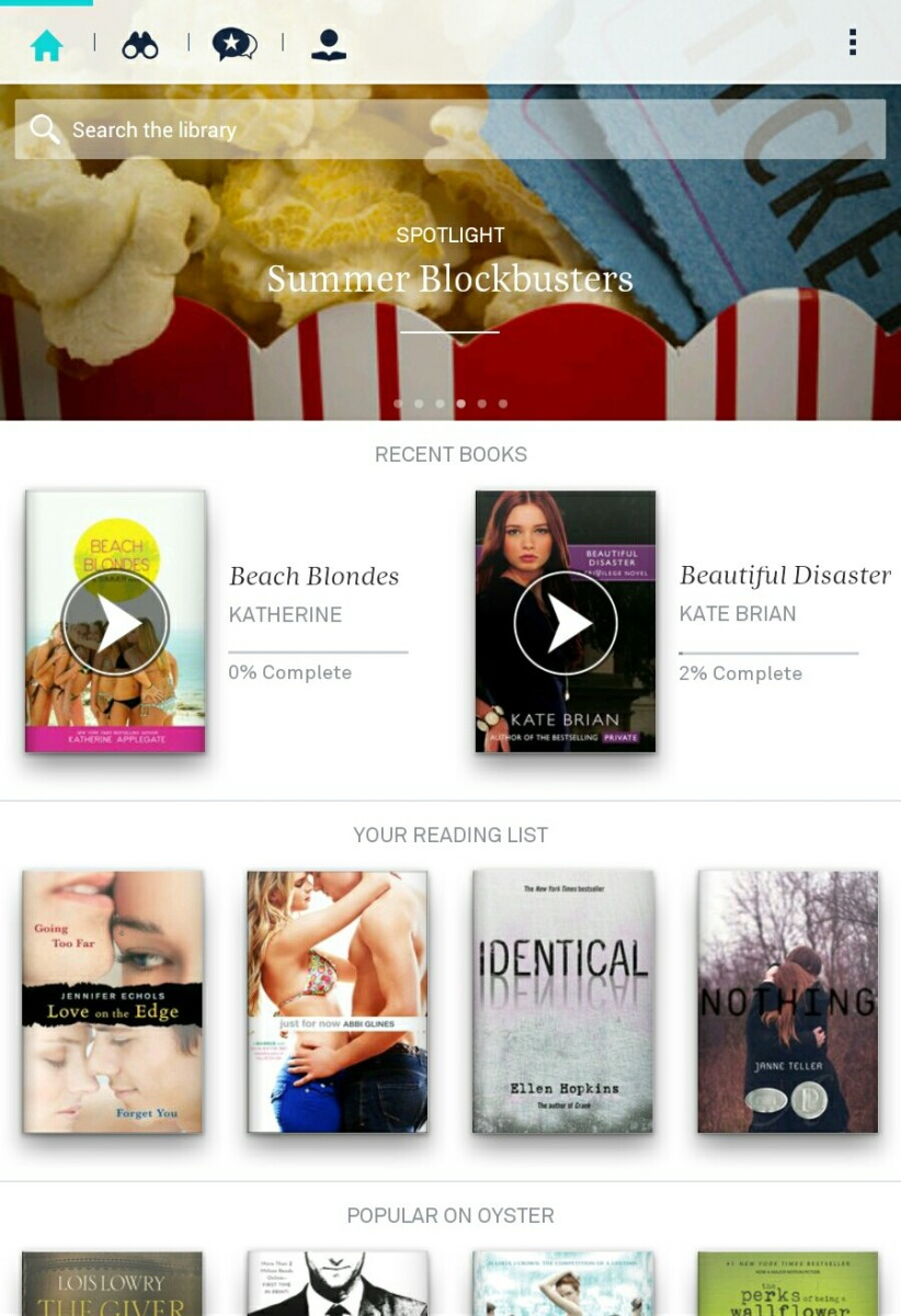My Nook's screenshot of Oysterbooks app