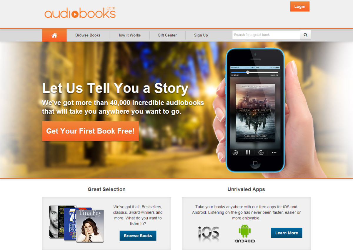 Screenshot of Audiobooks Website