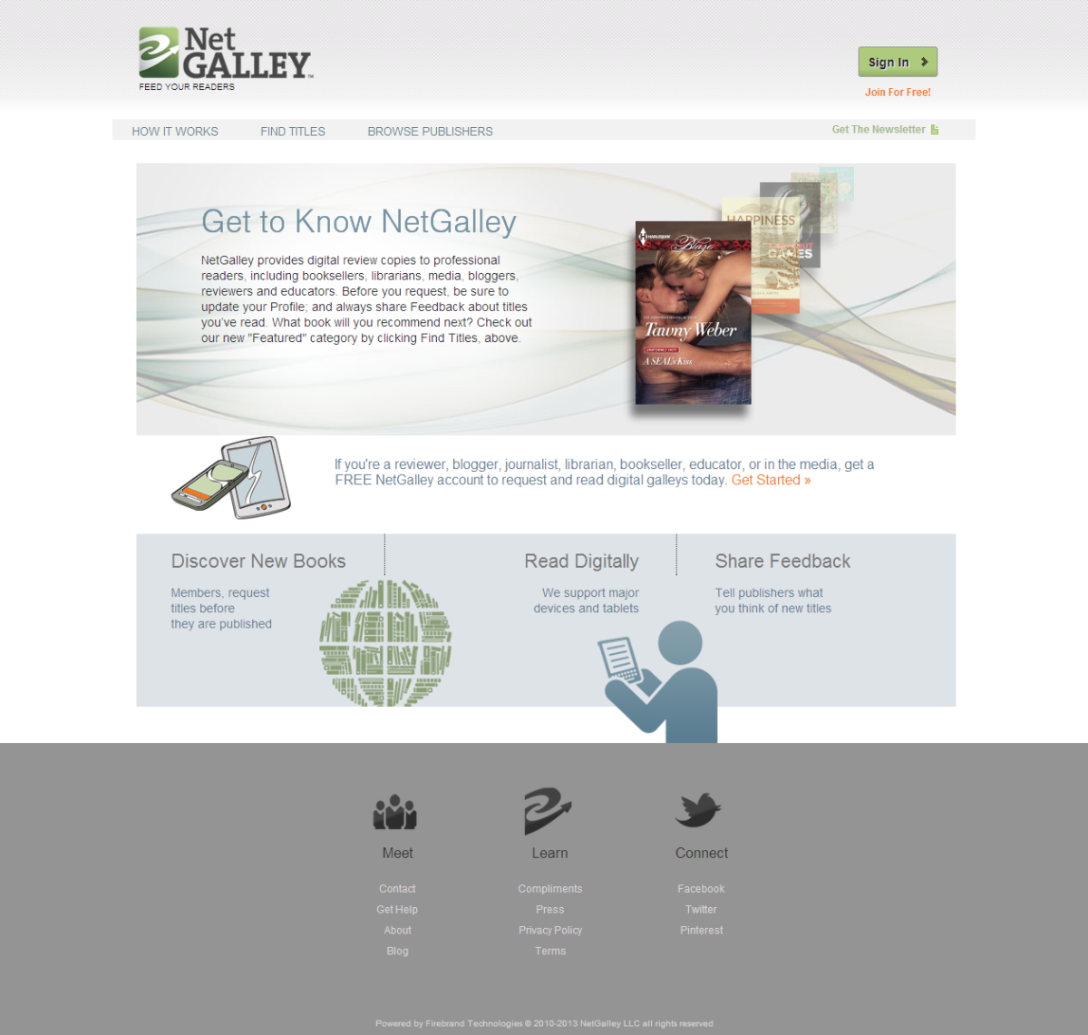 Screenshot of Net Galley Homepage