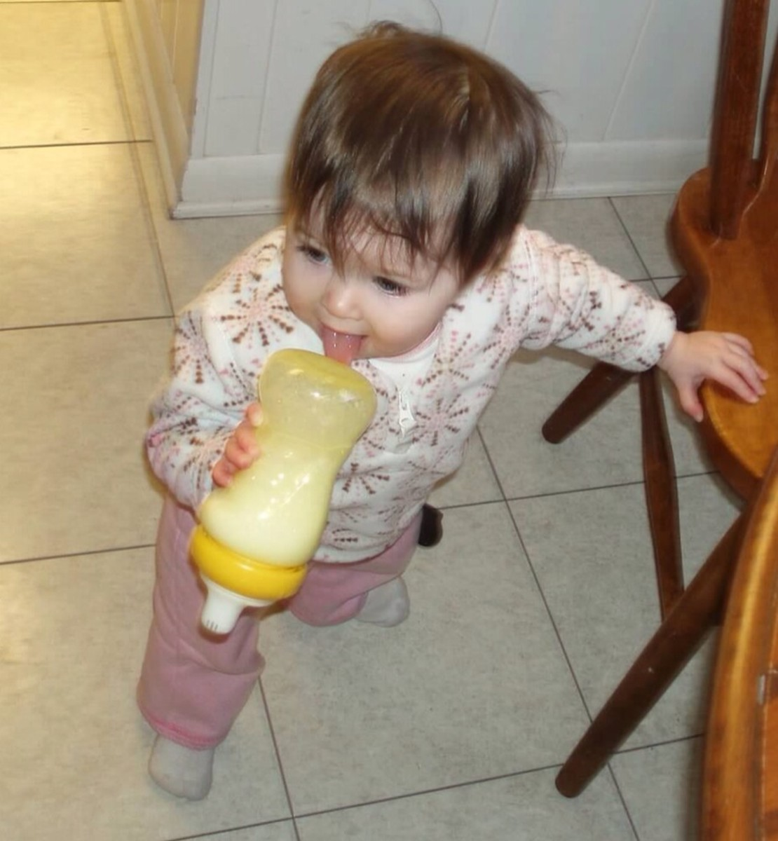 My daughter was not impressed with the more traditional sippy cup!