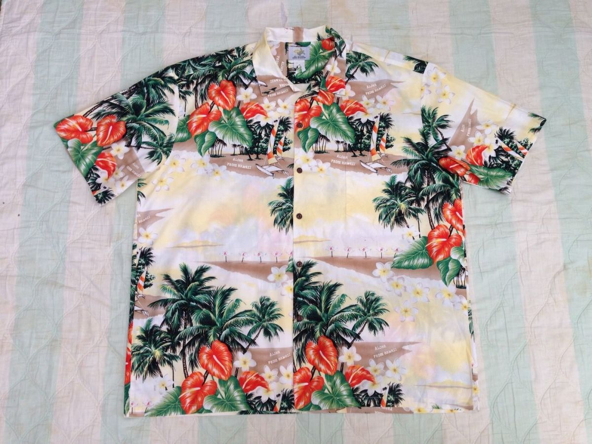 Vintage men's cotton hawaiian shirt by Ho Aloha. Made in Hawaii. Nice design with matched pocket and coconut buttons down the front.