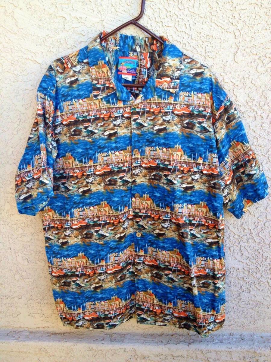 Joe Kealoha's The Genuine Hawaiian Shirt, size XXL, 100% cotton. Sailboats in a Blue Ocean Harbor  …