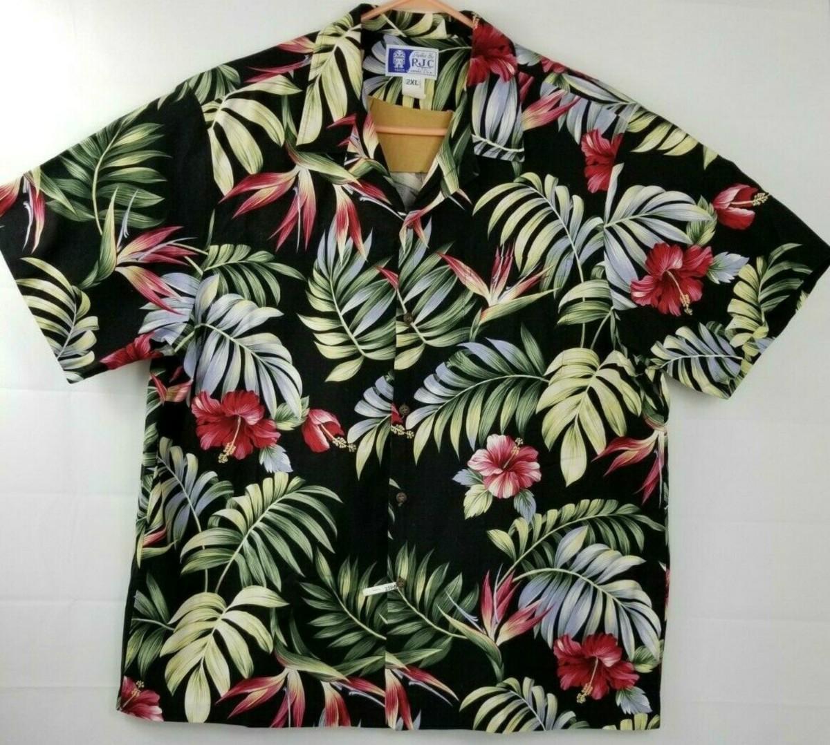 RJC LTD Mens Hawaiian Short Sleeve Shirt 2XL Made in USA/Hawaii EUC Button Down Multi-color …