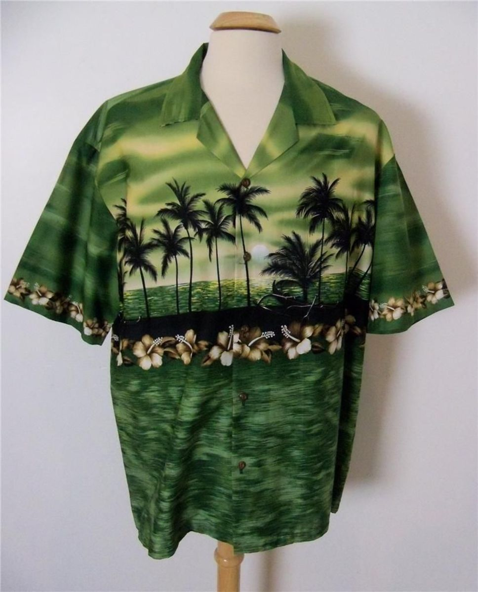 Made in Hawaii, Winnie Fashion Hawaiian shirt with gorgeous green palms set in a beautiful Sunset.
