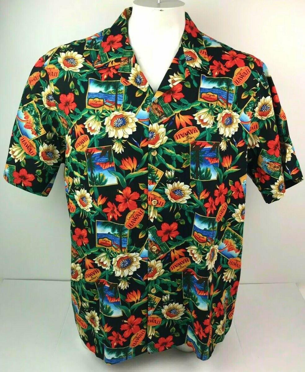 RJC Hawaiian Aloha Shirt Mens 2XL Legends of Hawaii Island of Paradise USA Made in Hawaii …