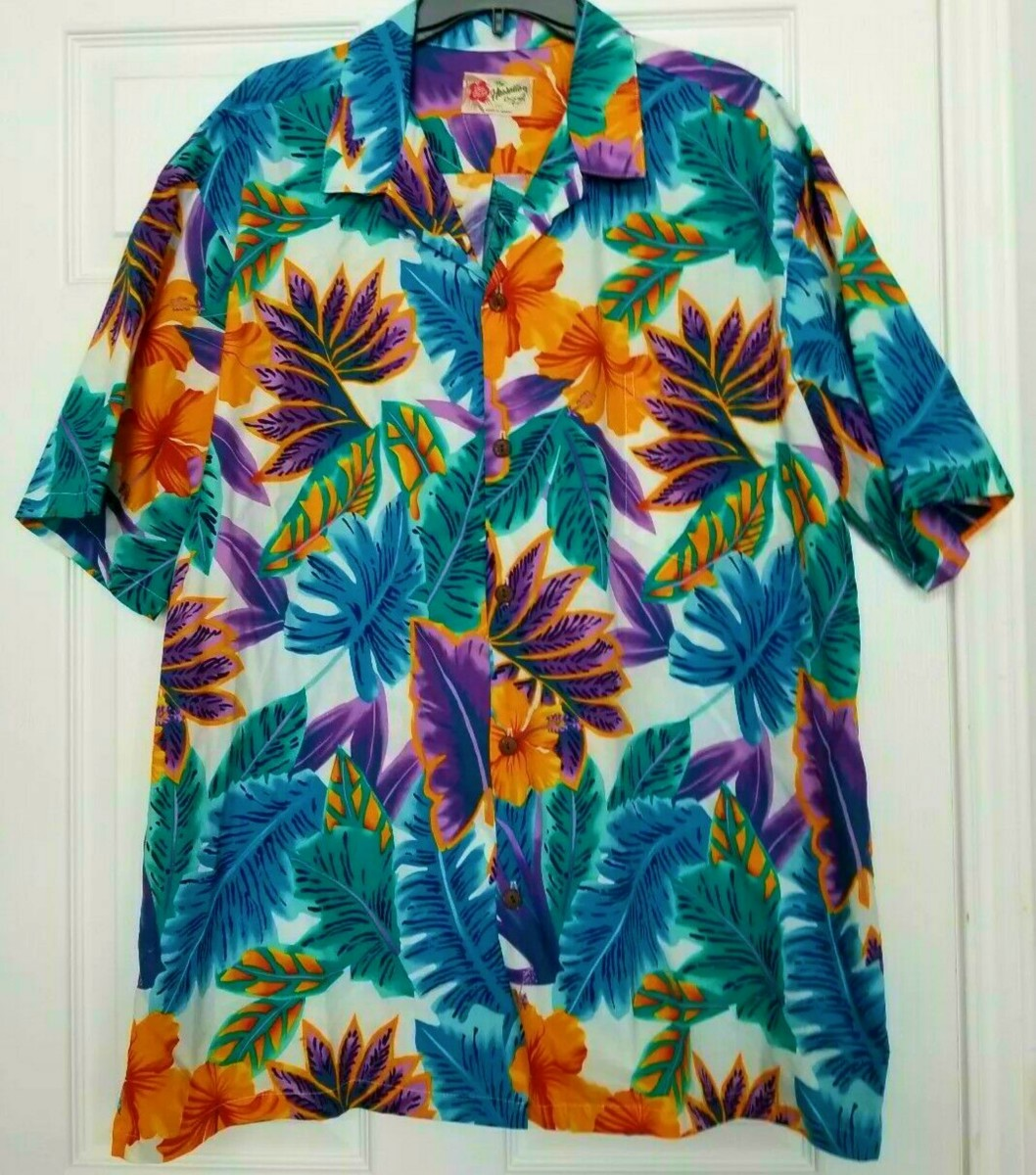 Hilo Hattie mens Hawaiian shirt size 2XL. 100% cotton, and completely made in Hawaii.