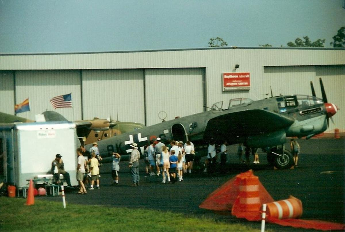 He-111 of the CAF (Then Confederate Air Force, now Commemorative Air Force) at Leesburg Municipal Airport, August 2000.