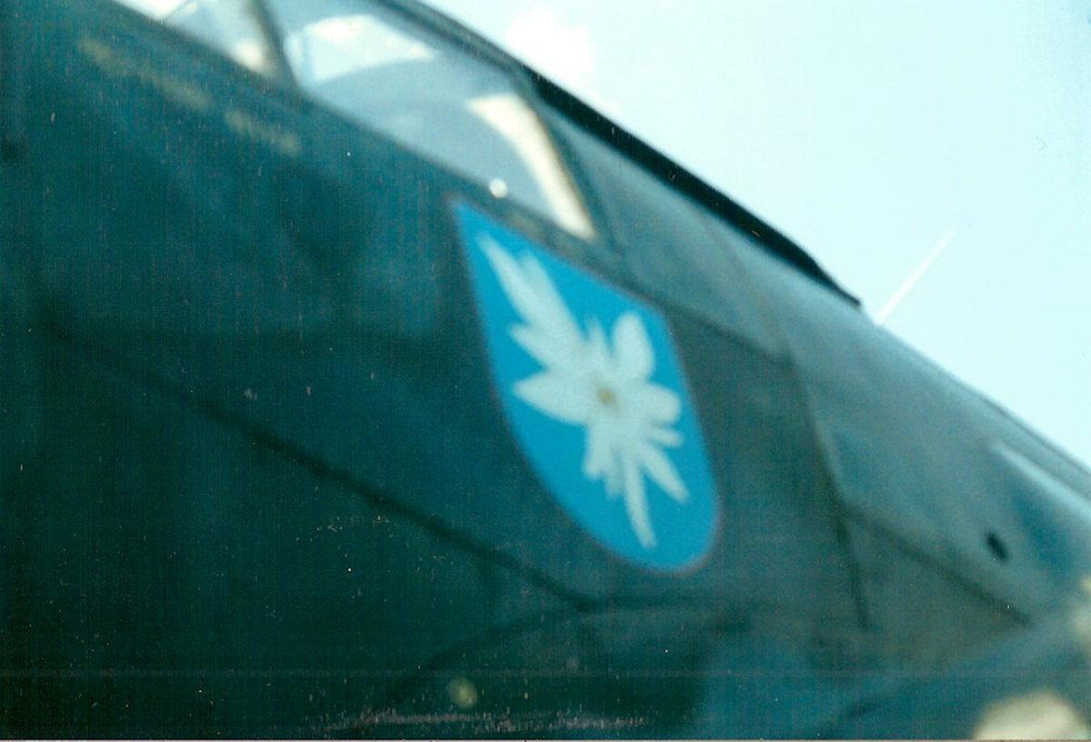 The Kampfgeschwader KG-51 unit crest on the fuselage of the CAF He-111.