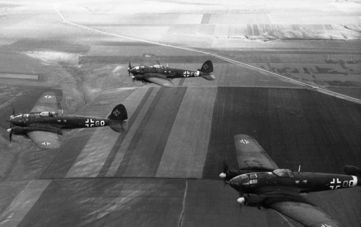 He-111s in formation.