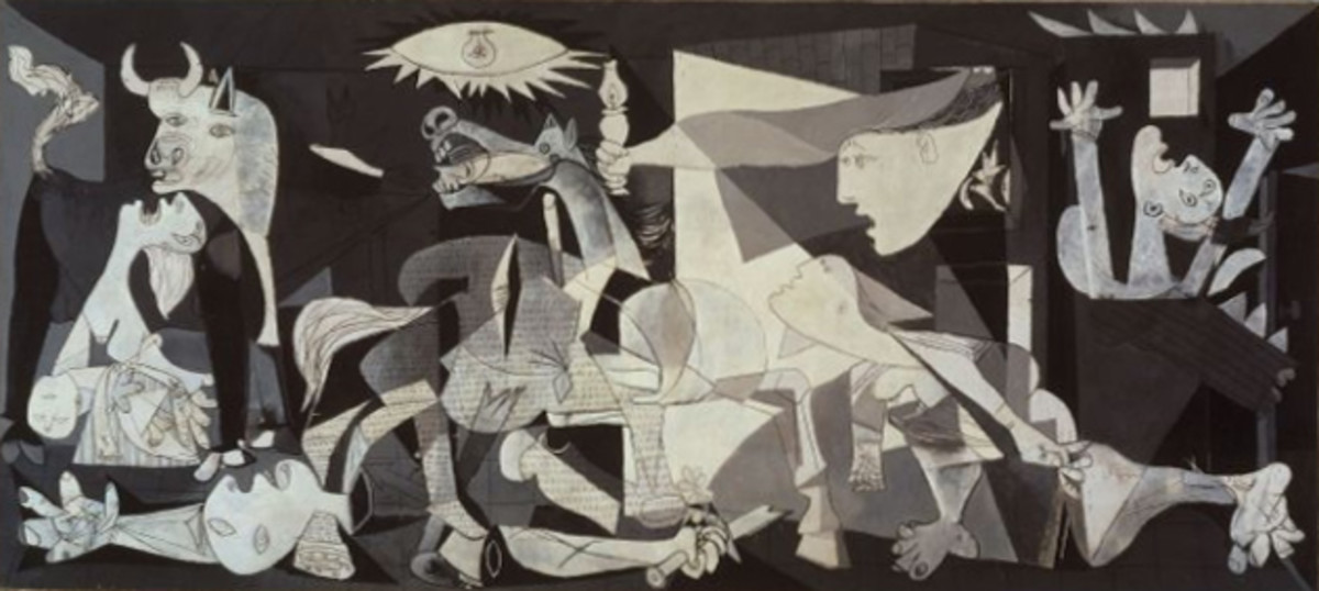 Guernica by Pablo Picasso.  The bombing a Guernica during the Spanish Civil War inspired Picasso to make this painting.