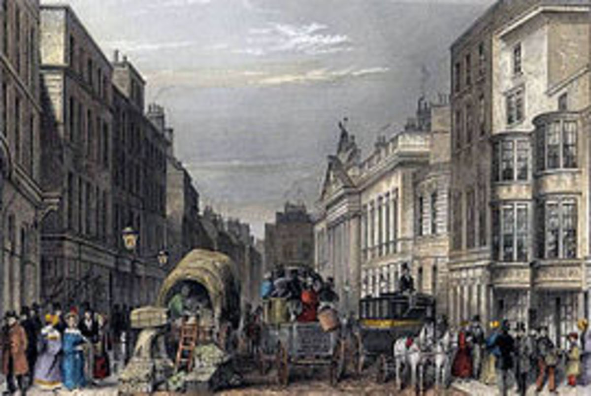 A picture of Leadenhall Street, London, c. 1837. Reflects Western art - oUse of straight lines, geometry,focus on subject,, perspective of the viewer.