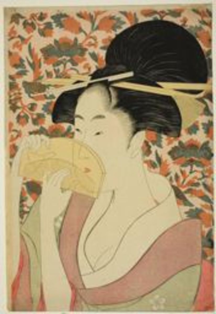Utamaro was an extremely famous and prolific woodblock print artist known especially for representations of elegant feminine beauties. A common aesthetic in Utamaro's prints is a partially veiled figure, done here with the comb over her face. It's ki