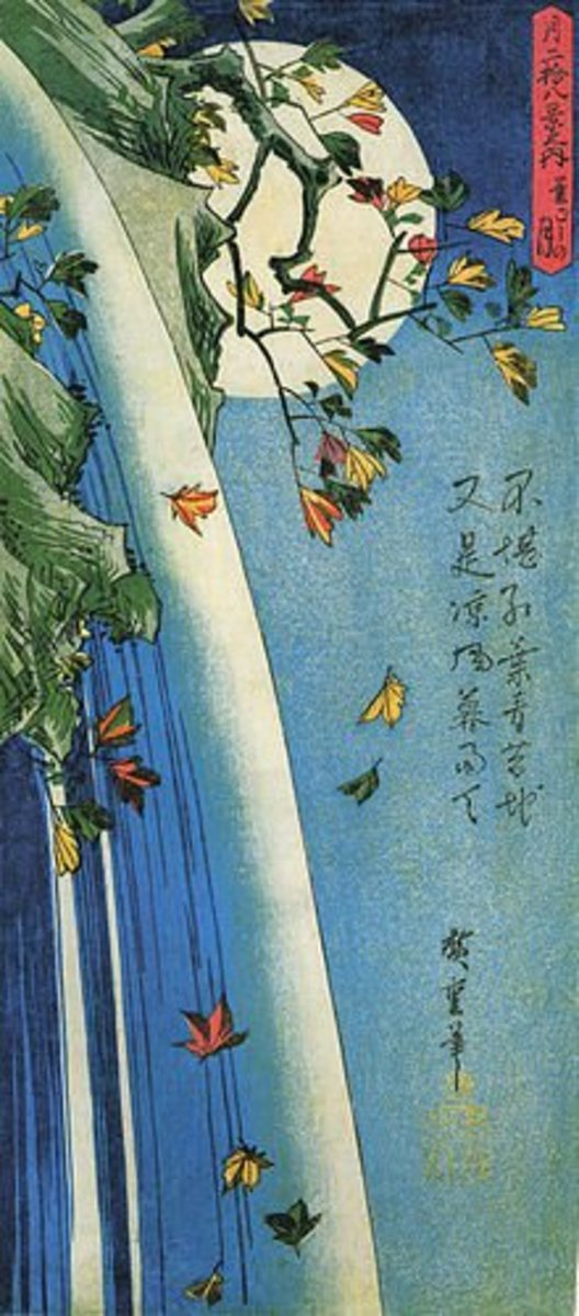Hiroshige, The moon over a waterfall. Blending lines, space produce a flat effect -reinforces values of holism and context - drawing the viewer  to see through the eyes not with the eye. Inner reflection and soul engagement are valued.