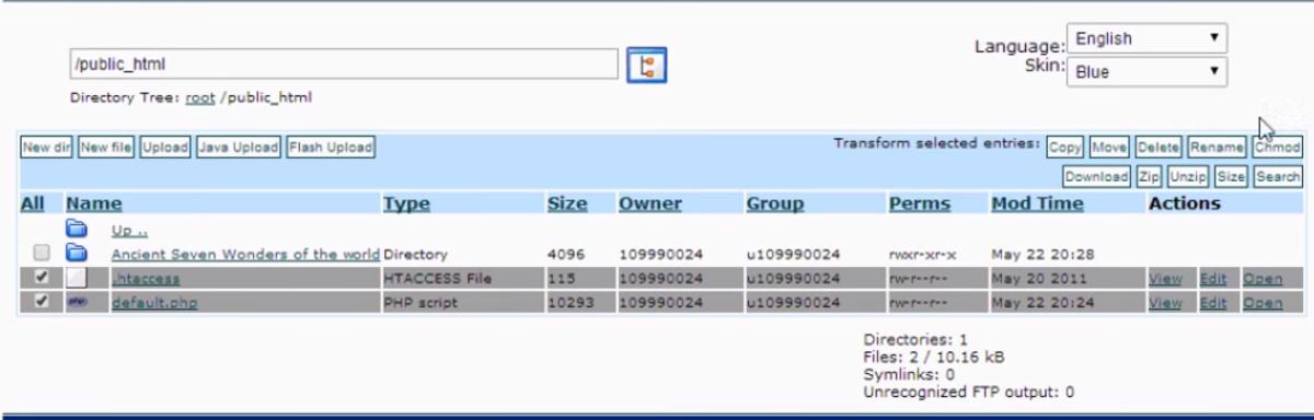 deleting the default.php file screenshot