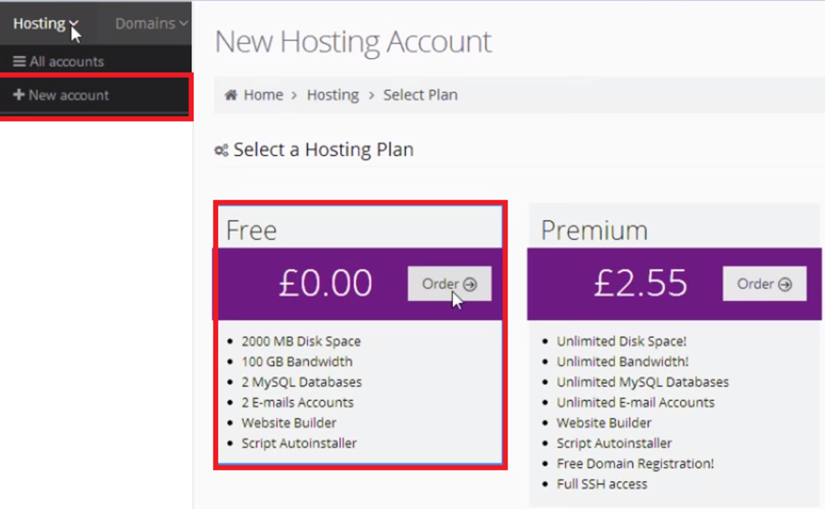 Screenshot for creating a hosting account on Hostinger