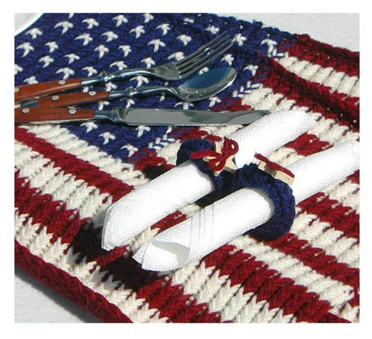 Red, white, and blue flag placemat to dress up any Fourth of July, Labor Day, or Memorial Day celebration.