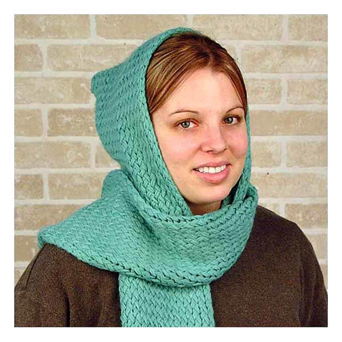 Knifty Knitter Green Long Loom Hooded Scarf Pattern