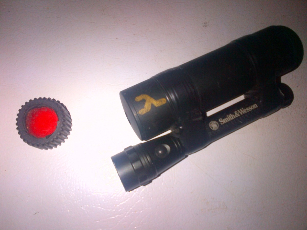 A red filter for a flashlight