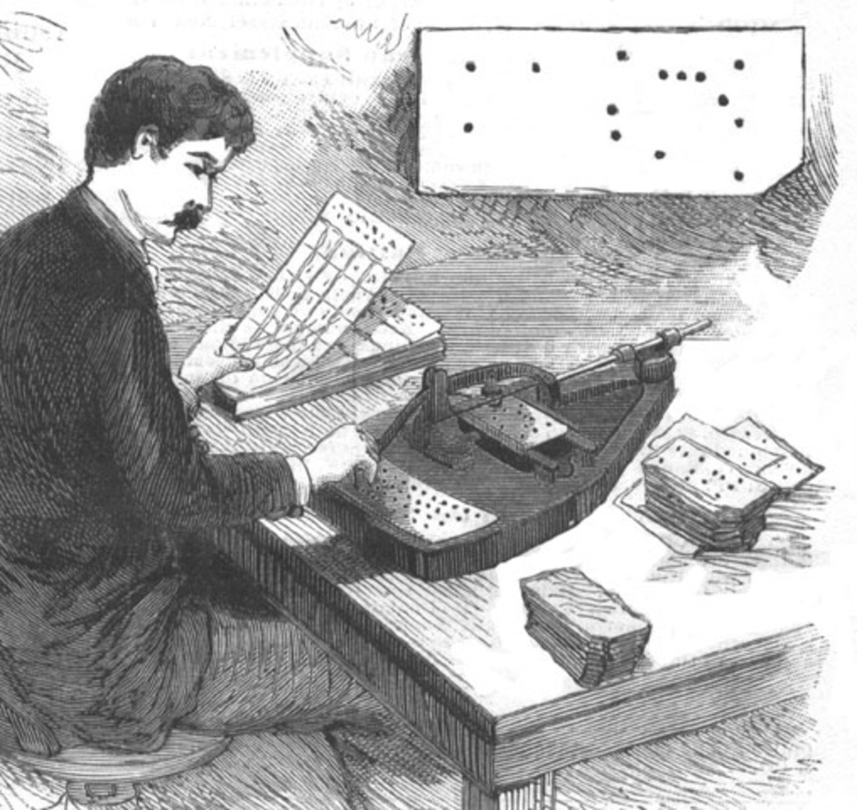 Hollerith's pantograph-inspired hole punch machine was used in the 1890 census.