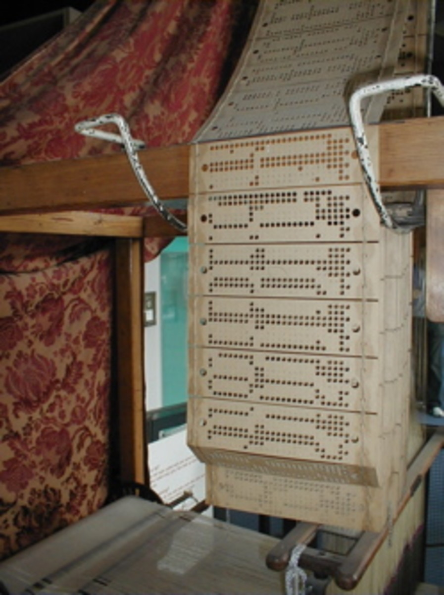 Close-up view of the punch cards used by Jacquard loom on display at the Museum of Science and Industry in Manchester, England. Credit: George H. Williams, 2004.