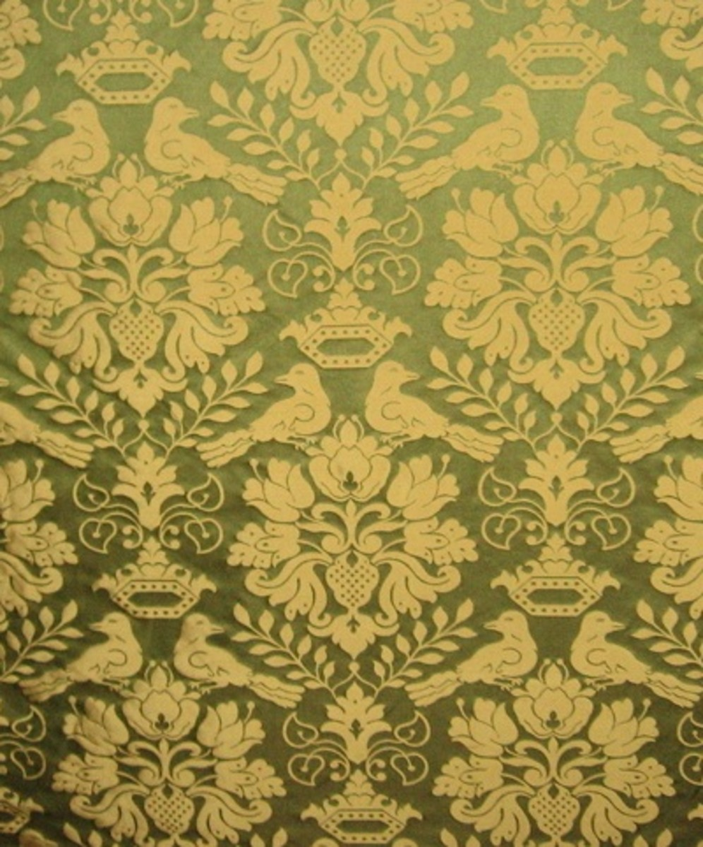 Scalamandre 100% Silk Gothic Medieval Love Birds Damask Drapery Fabric. A Museum Reproduction from the Late 1500s. Original woven by hand!
