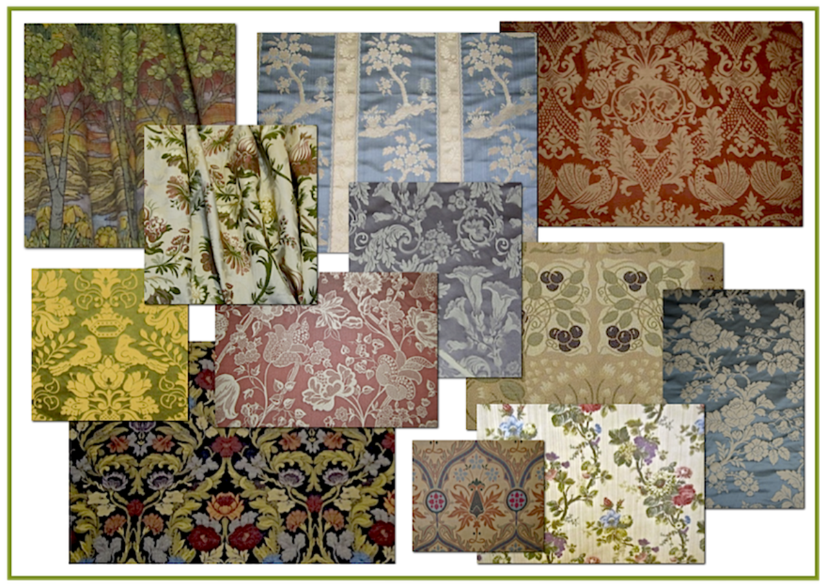 A sampling of fabrics woven on a jacquard loom. Copyright 2014 RestorationFabricsandTrims.com. All Rights Reserved. Used with permission.