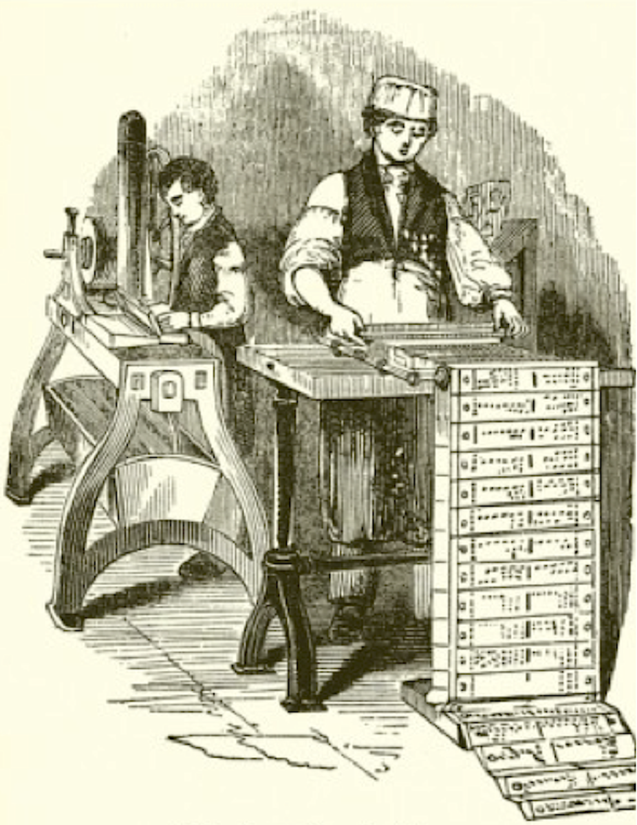 Making hole-punched cards for Jacquard's loom. Source: Public Domain
